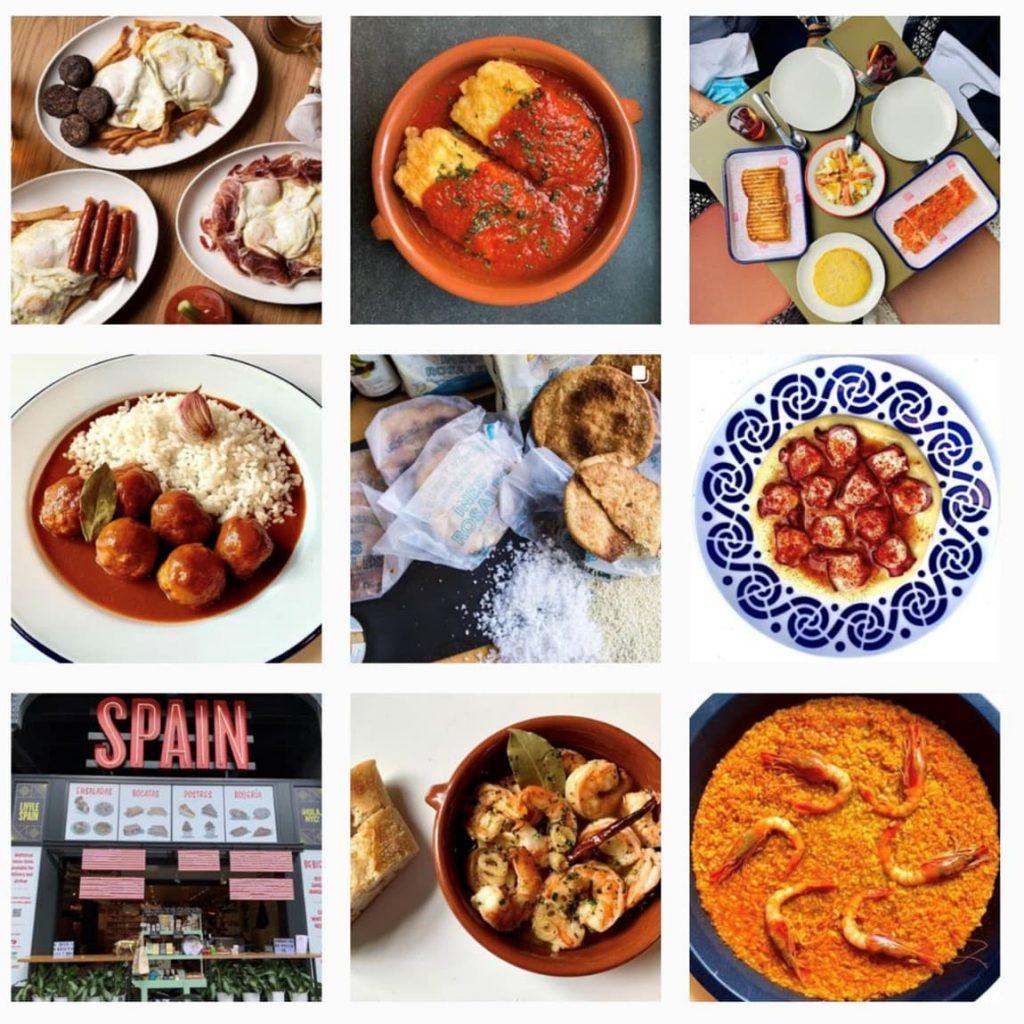 Le célèbre Mercado Little Spain de New York (@littlespain) change constamment ses photos de plats sur instagram, alternant les gros plans et s'assurant d'utiliser ses assiettes uniques pour égayer et accentuer ses plats.